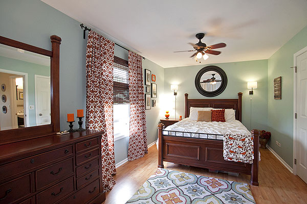 sherwin williams watery master bedroom cool and calming with burnt orange accents