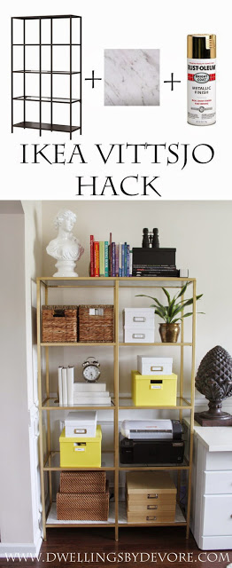 IKEA vittsjo hack with stained wood perfect for farmhouse decor