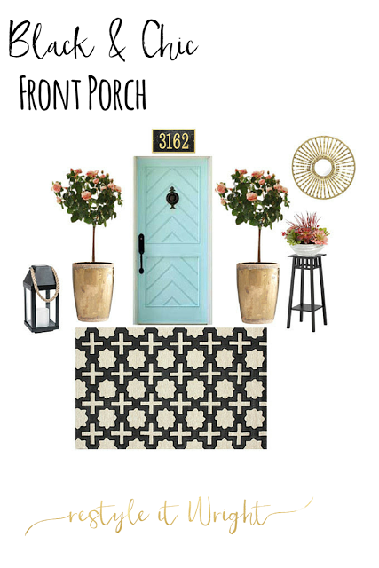 summer mood board for front porch with rugs usa and knock out rose tree