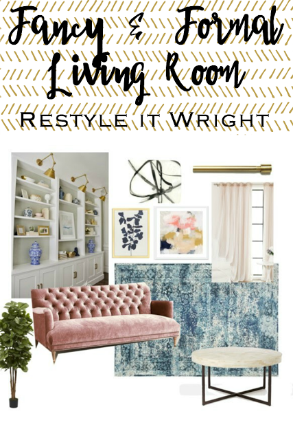 mood board formal living room with pink and gold and built in bookcases