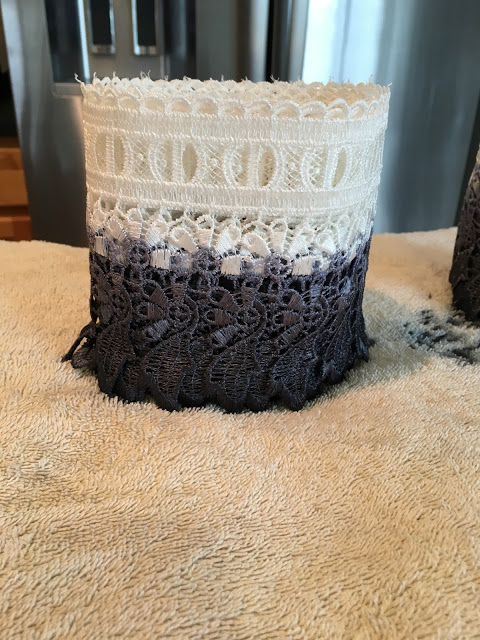 Make these beautiful curtains with dyed ombre lace dye that are budget friendly using RIt Dye in navy and black and IKEA ritva curtains.
