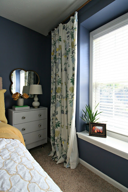 "Make these beautiful118""  curtains with dyed ombre lace dye that are budget friendly using RIt Dye in navy and black and IKEA ritva curtains."