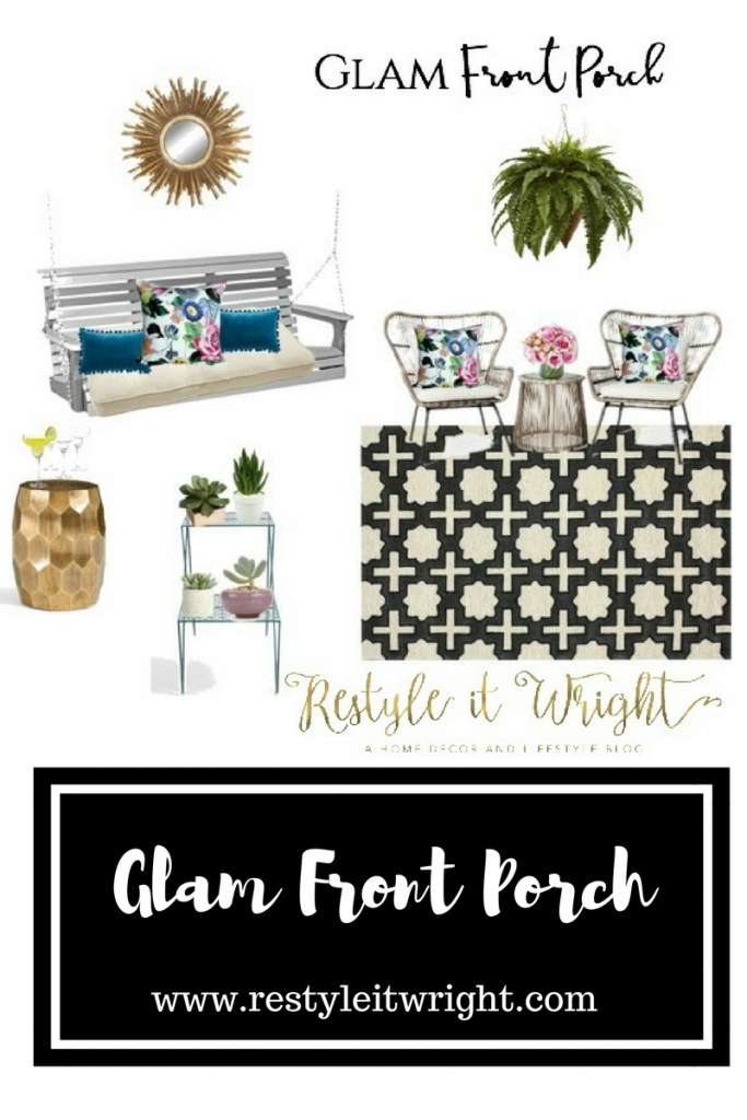 a glam front porch mood board with gold accents, succulents, and an outdoor rug from rugs us with stuck on hue pillows