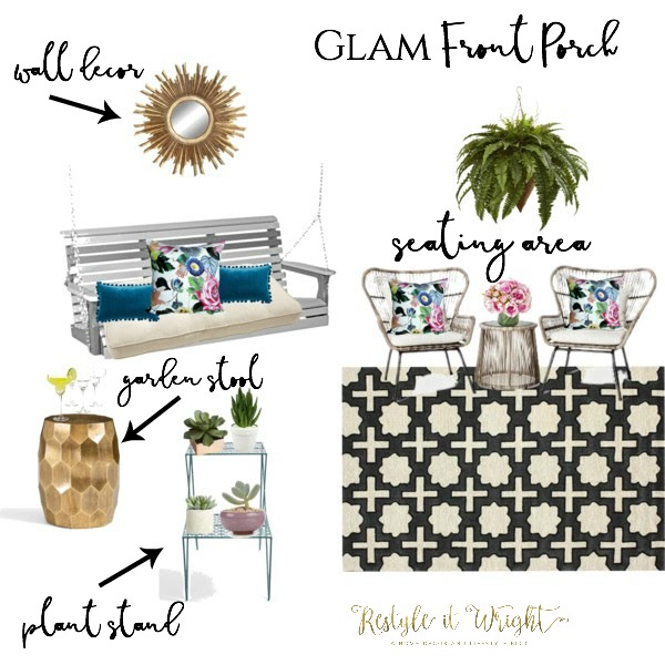 glam and chic front porch mood board with vibrant colors and black and white outdoor rug