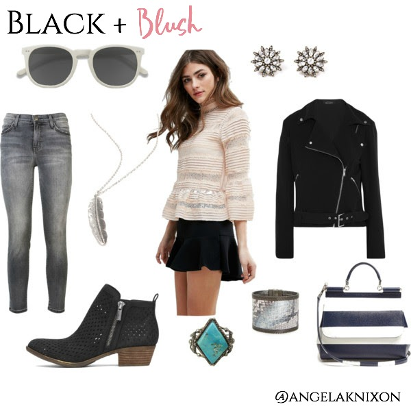 inspiring fashion and wardrobe staples with a bohemian chic vibe black leather jacket, lucky brand booties, michael kors sunglasses