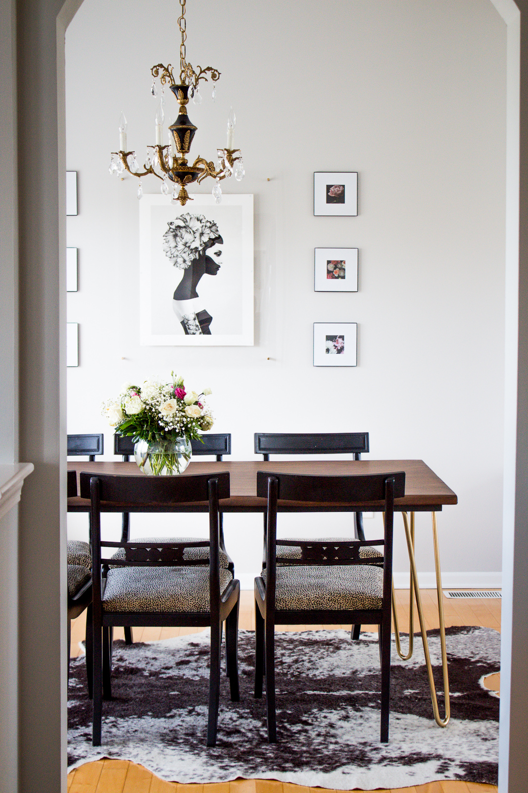 a budget friendly dining room makeover with a chic bohemian glam vibe with lots of DIY's