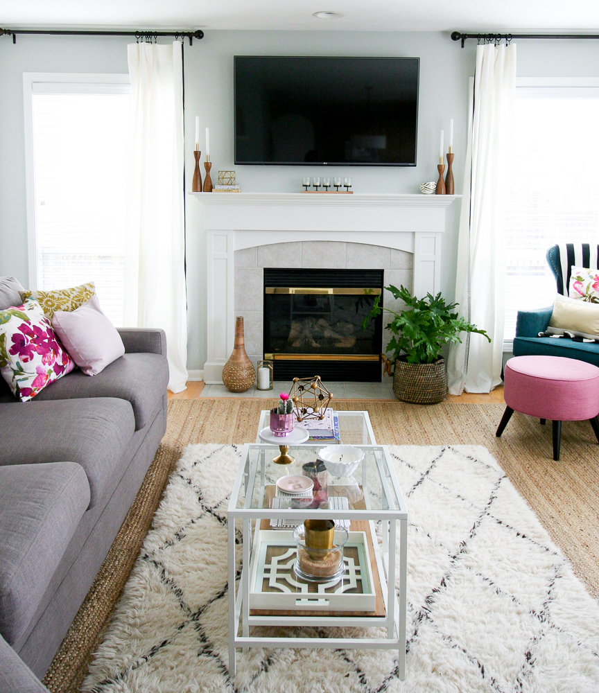 a glam and chic family room tour with budget friendly makeovers sherwin williams silver strand paint, ikea hack, large sectional, layered rugs