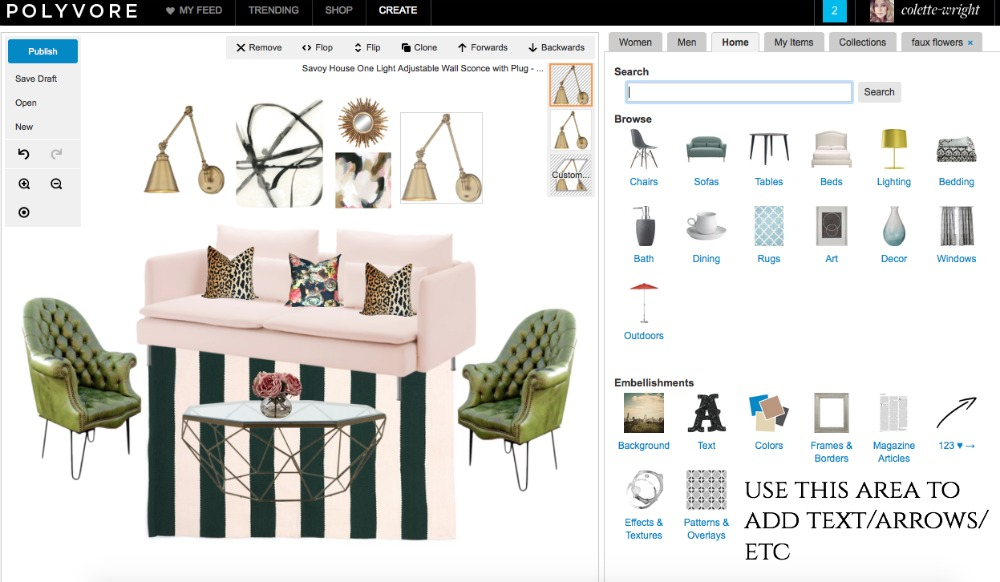 a tutorial on how to create a mood board design board without photoshop using polyvore