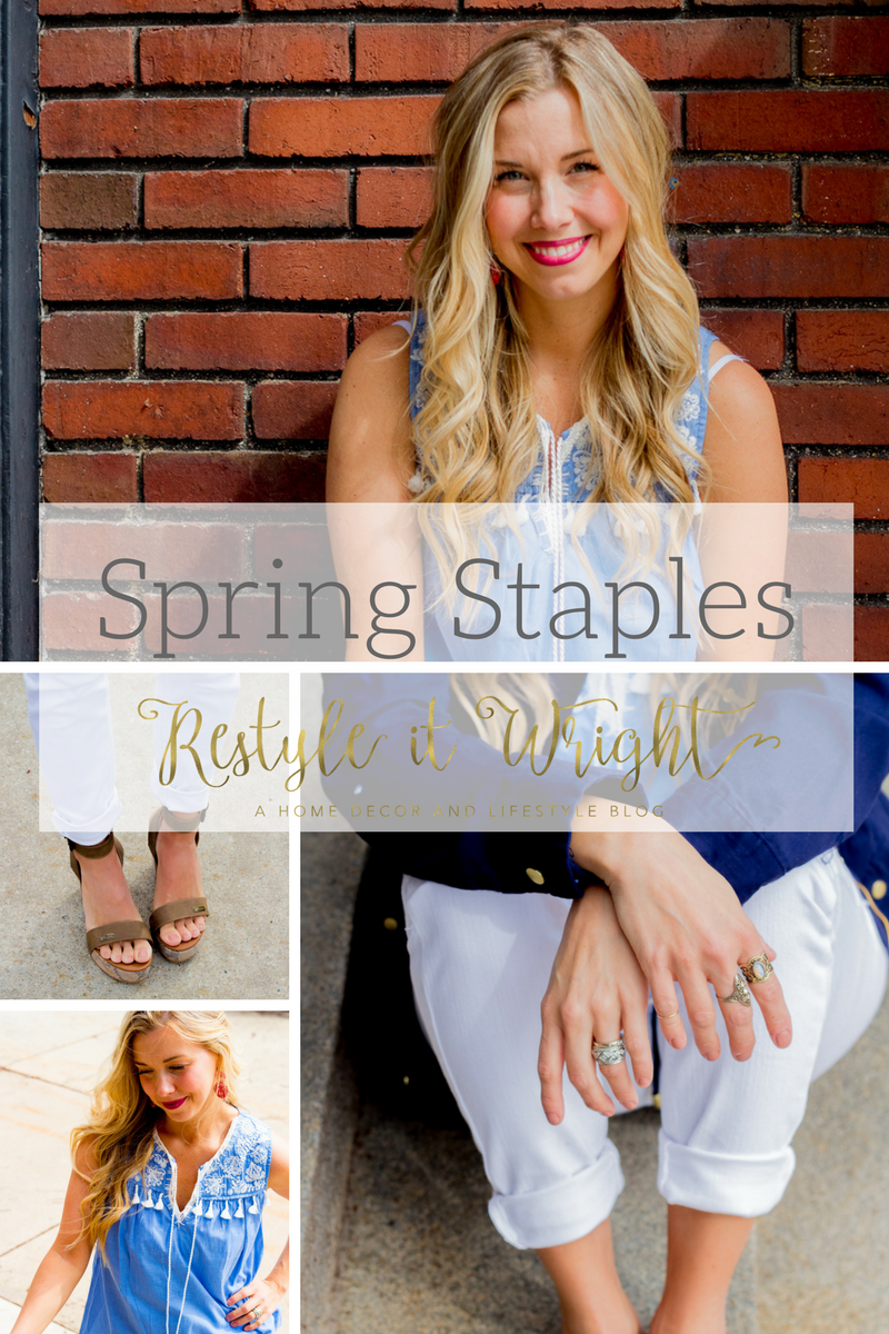 spring non clothing staples with fashion tips, NYX lipsticks, blonde hair, self tanner, and paul mitchell curling wand and many more tips