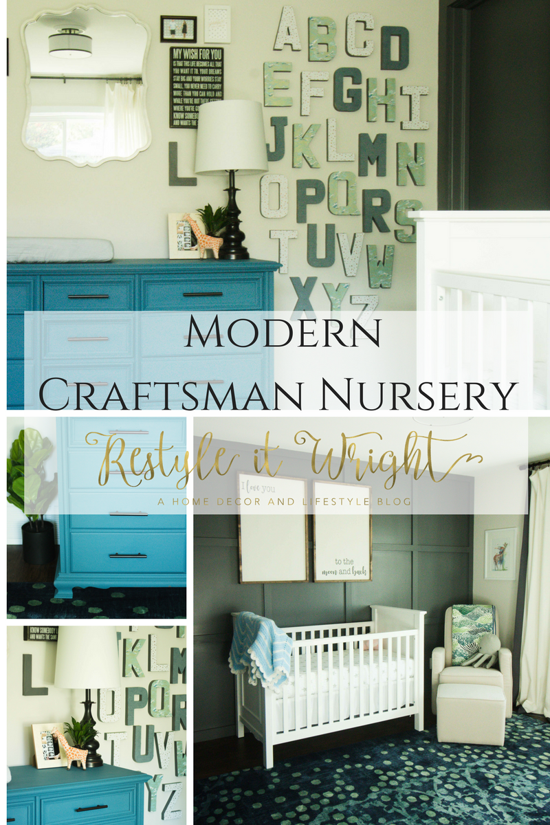 modern craftsman boy nursery with custom wood paneled doors and wood wall treatment