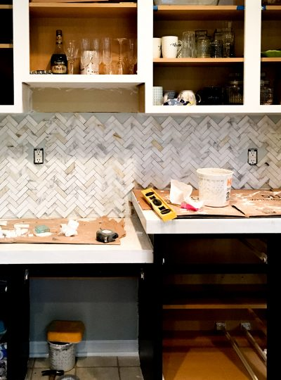 Spring One Room Challenge Week 4 & 5 | We have Tile, Counters, and Painted Cabinets!